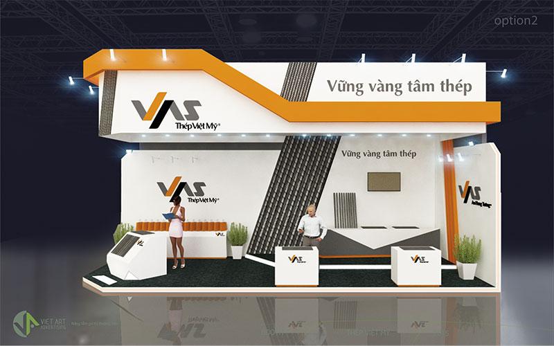 Hình ảnh thiết kế gian hàng thép Việt Mỹ