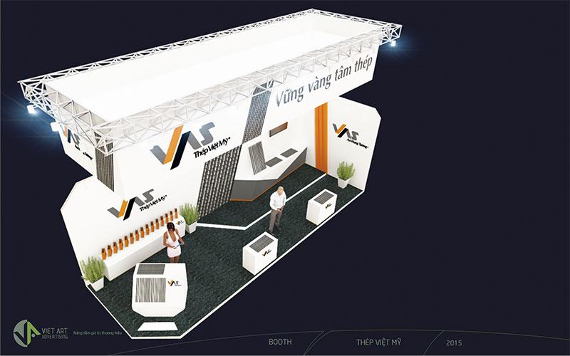 Hình ảnh thiết kế gian hàng thép Việt Mỹ 1