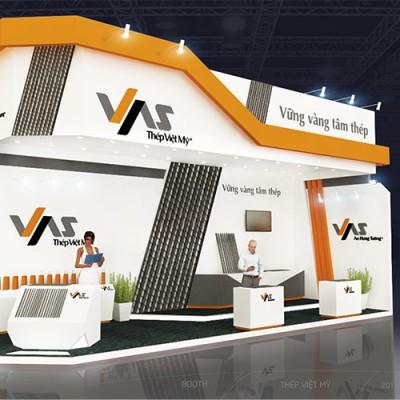 Hình ảnh thiết kế gian hàng thép Việt Mỹ 4