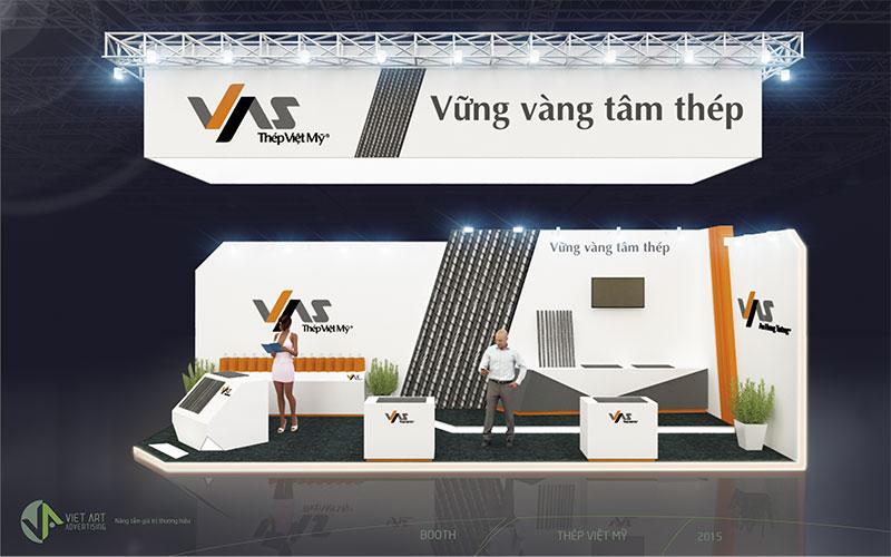 Hình ảnh thiết kế gian hàng thép Việt Mỹ 2